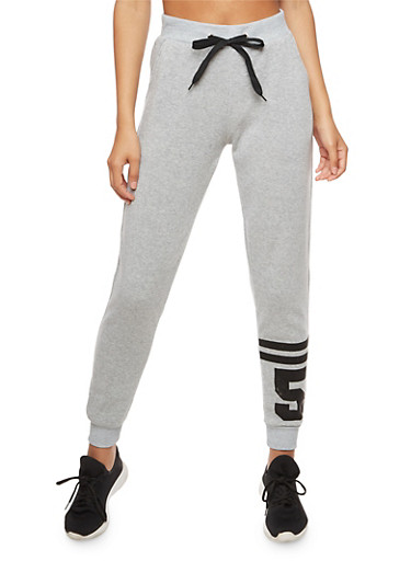 Soft Knit Drawstring Waist Sweatpants,HEATHER,large