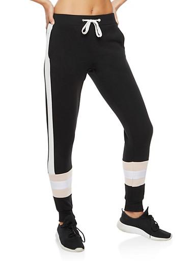 Striped Color Block Sweatpants,BLACK/MAUVE,large