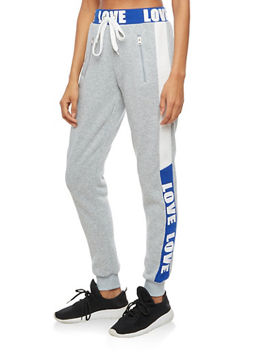 Color Block Love Graphic Waistband Sweatpants,RYL BLUE,large