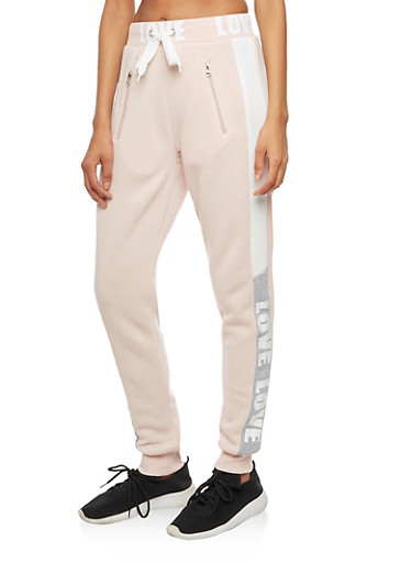 Color Block Love Graphic Waistband Joggers,MAUVE,large