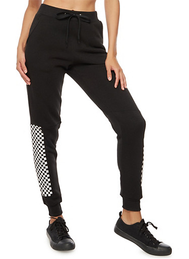 Checkerboard Accent Fleece Joggers,BLACK,large