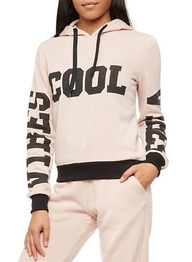 Long Sleeve Cool Vibes Graphic Hooded Sweatshirt,MAUVE,large