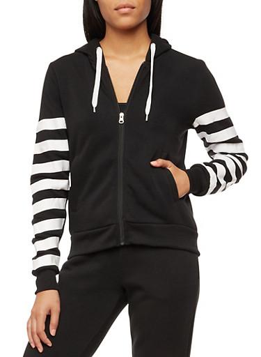 Unedited Graphic Zip Up Hoodie,BLACK,large