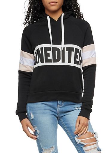 Unedited Graphic Color Block Hooded Sweatshirt,BLACK MAUVE,large