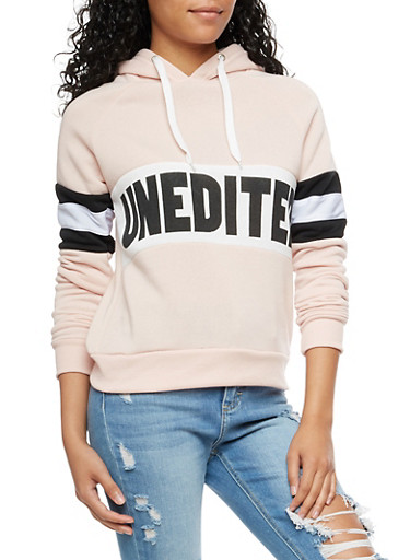 Unedited Graphic Color Block Hooded Sweatshirt,MAUVE/BLACK,large