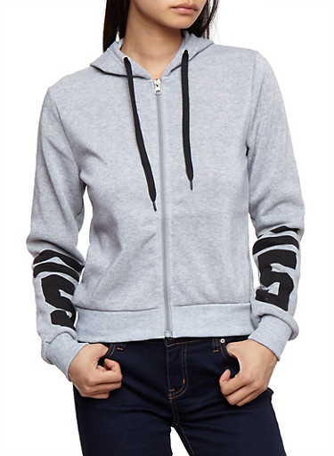 Soft Knit Graphic Zip Front Hoodie,HEATHER,large