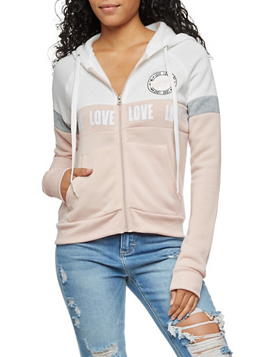 Love Graphic Zip Up Hooded Sweatshirt,MAUVE,large
