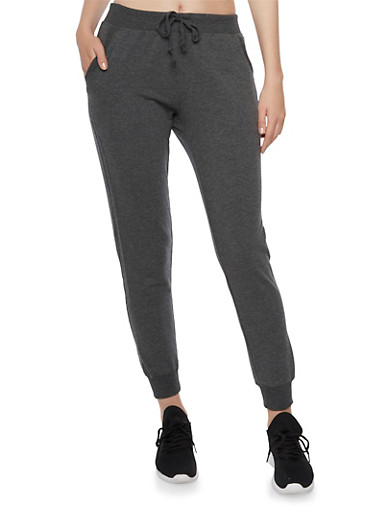 Solid Joggers with Two Pockets,CHARCOAL,large