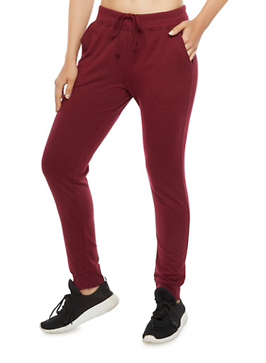 Solid Sweatpants,BURGUNDY,large