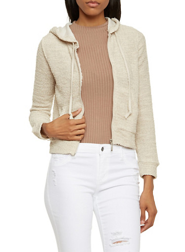 Knit Hoodie with Zip Front,OATMEAL,large
