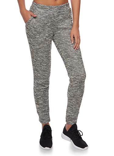 Marled Knit Joggers,BLACK/WHITE,large