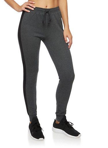 Joggers with Contrasting Side Stripes,CHARCOAL/BLACK,large