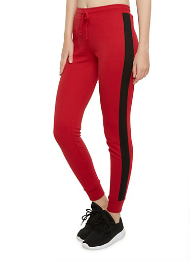 Joggers with Contrasting Side Stripes,DEEP RED/BLACK,large