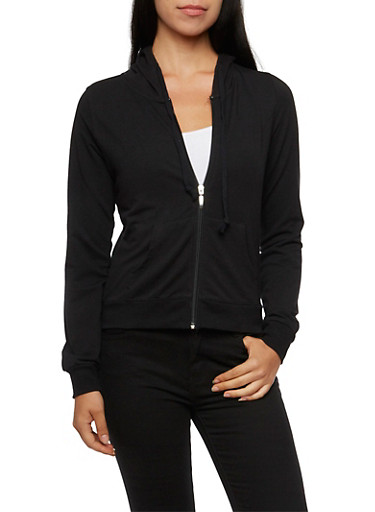 Hoodie with Zip Front,BLACK,large