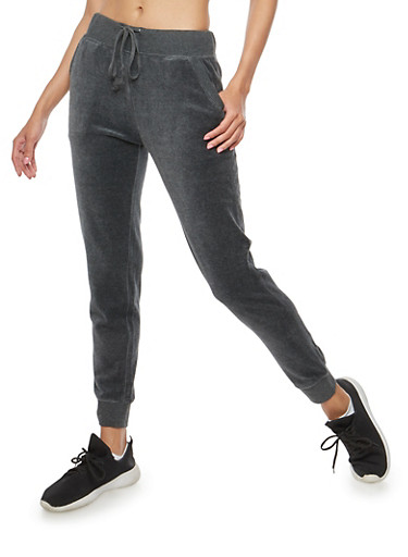 Velour Joggers,CHARCOAL,large