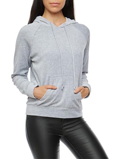 Velour Hooded Sweatshirt,HEATHER,large