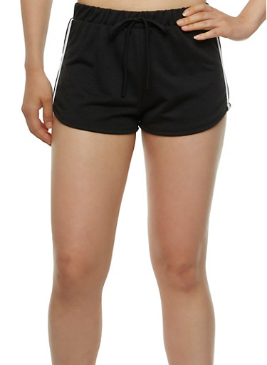 French Terry Track Shorts with Contrasting Side Stripes,BLACK/WHITE,large
