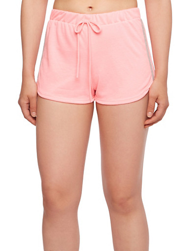 French Terry Track Shorts with Contrasting Side Stripes,FUCHSIA/NEON,large