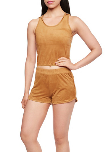Faux Suede Crop Top with Attached Hood and Racerback Paneling,CAMEL,large