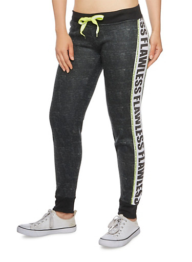 Joggers with Love Flawless Print,BLACK,large