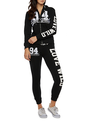 Zip-Front Hooded Jacket with Love Wild Graphic,BLACK,large