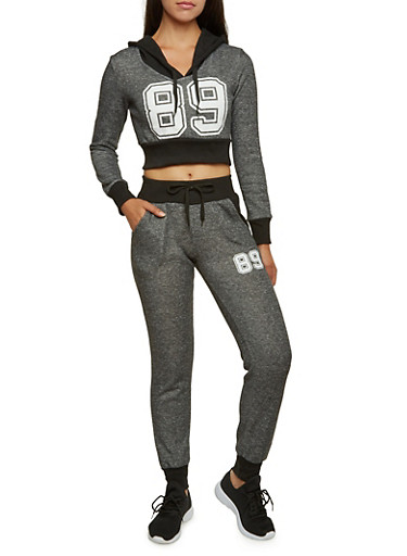 Cropped Hoodie with Number Graphic,CHARCOAL,large