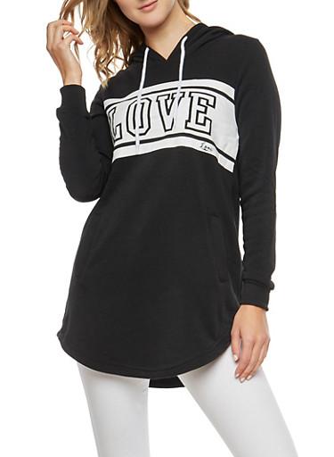 Fleece Love Graphic Tunic Sweatshirt,BLACK,large