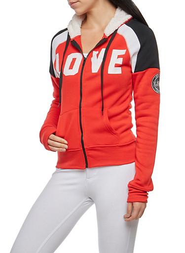 Love Graphic Sweatshirt with Sherpa Hood,RED,large