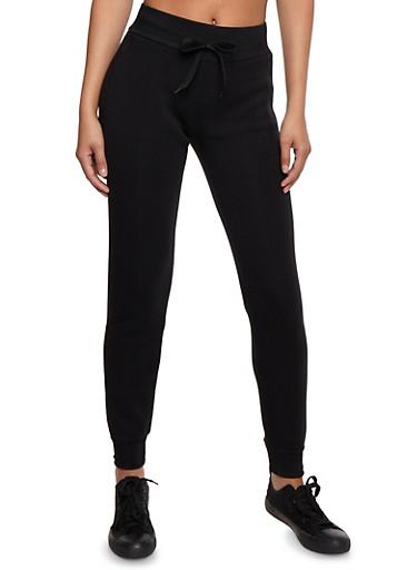 Solid Basic Sweatpants,BLACK,large