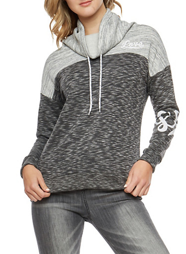 Love Graphic Fleece Cowl Neck Sweatshirt,CHARCOAL,large