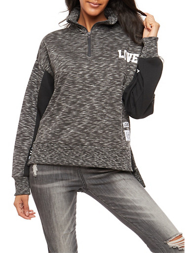 Marled Graphic High Low Sweatshirt,CHARCOAL,large