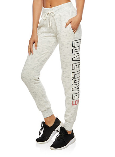 Love Graphic Marled Print Sweatpants at Rainbow Shops in Jacksonville, FL | Tuggl