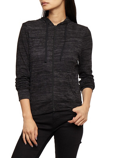 Marled Zip Up Hoodie,BLACK,large