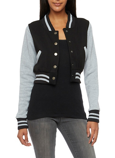 Fleece Bomber Jacket,BLACK,large
