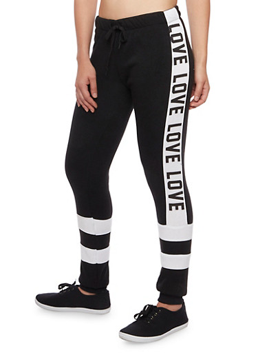 Color Block Joggers with Love Graphics,BLACK,large