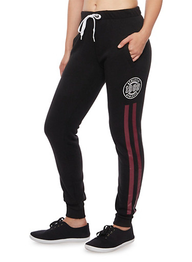 Joggers with Varsity Graphics,BLACK,large