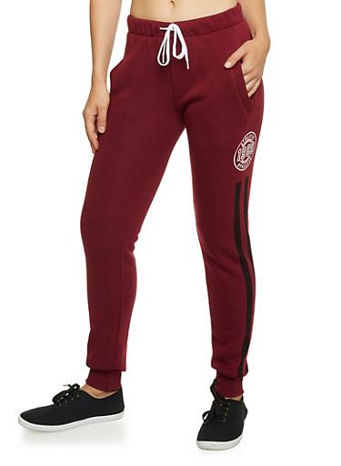 Joggers with Varsity Graphics,BURGUNDY,large