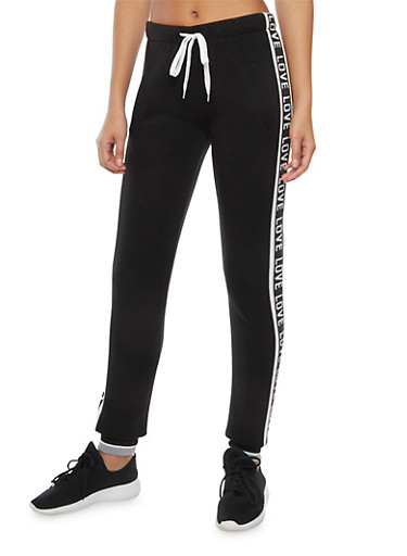 Graphic Joggers with Love Print,BLACK/HEATHER GREY,large