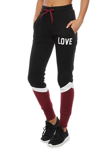 Color Block Joggers with Love Print,BLACK,large