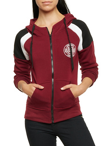 Fleece Hoodie with Love Nation Graphics,BURGUNDY/BLACK,large