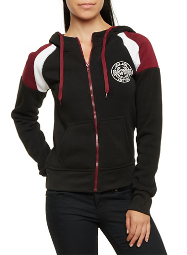 Fleece Hoodie with Love Nation Graphics,BLACK/BURGUNDY,large