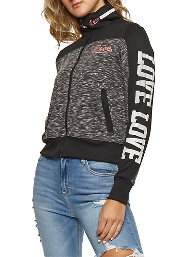 Marled Color Block Graphic Zip Front Sweatshirt,CHARCOAL,large