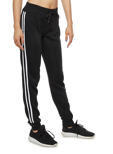 Fleece Lined Varsity Stripe Sweatpants,BLACK,large
