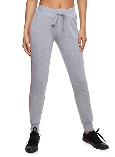 Fleece Lined Varsity Stripe Sweatpants,MAUVE S,large