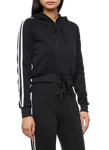 Varsity Stripes Double Drawstring Hoodie,BLACK,large