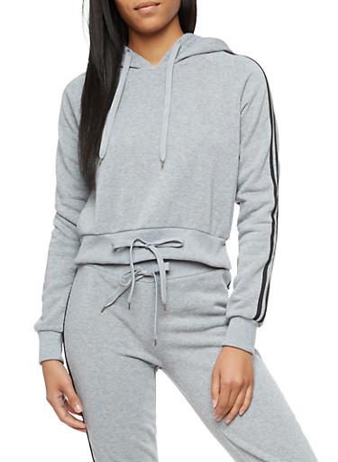 Varsity Stripes Double Drawstring Hooded Sweatshirt,HEATHER,large