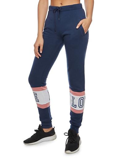 Love Graphic Sweatpants,NAVY,large