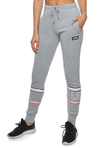 Leg Graphic Sweatpants,HEATHER,large
