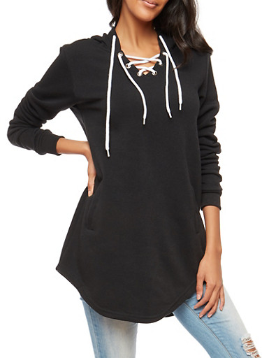 Lace Up Hooded Sweatshirt,BLACK,large