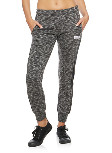 Marled Joggers with Solid Varsity Stripe,CHARCOAL,large